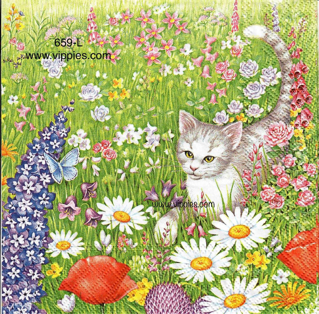 ANIM-659 Cat in Meadow Napkin for Decoupage