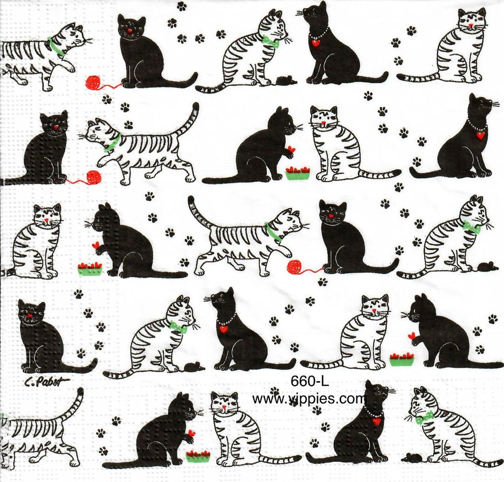 ANIM-660 Black/White Cats Napkin for Decoupage