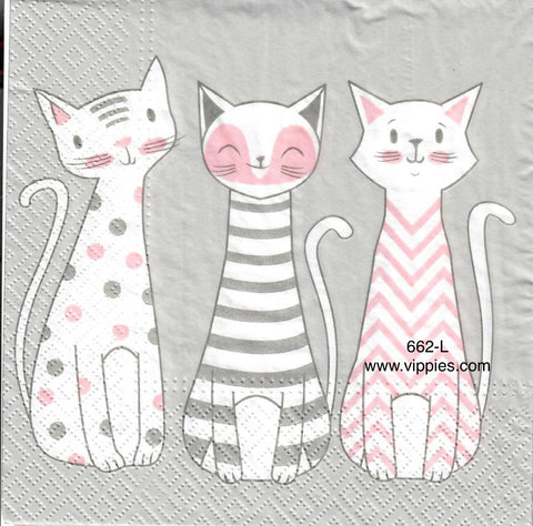 ANIM-662 Gray/Pink Cats Napkin for Decoupage
