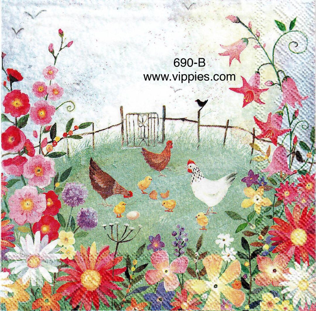 ANIM-690 Chicken and Chicks Napkin for Decoupage