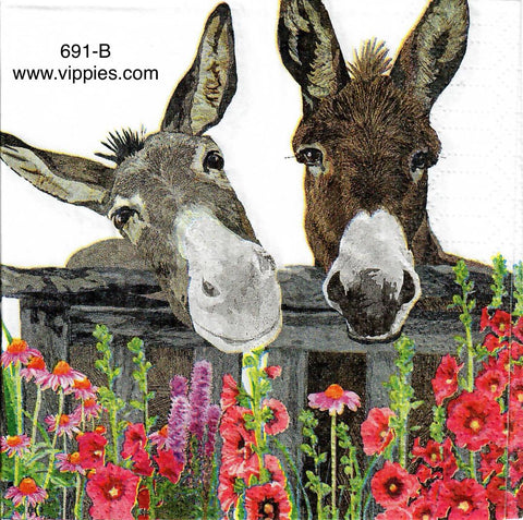 ANIM-691 Two Donkeys Napkin for Decoupage