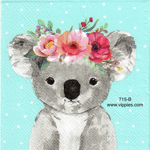ANIM-715 Koala Floral Napkin for Decoupage