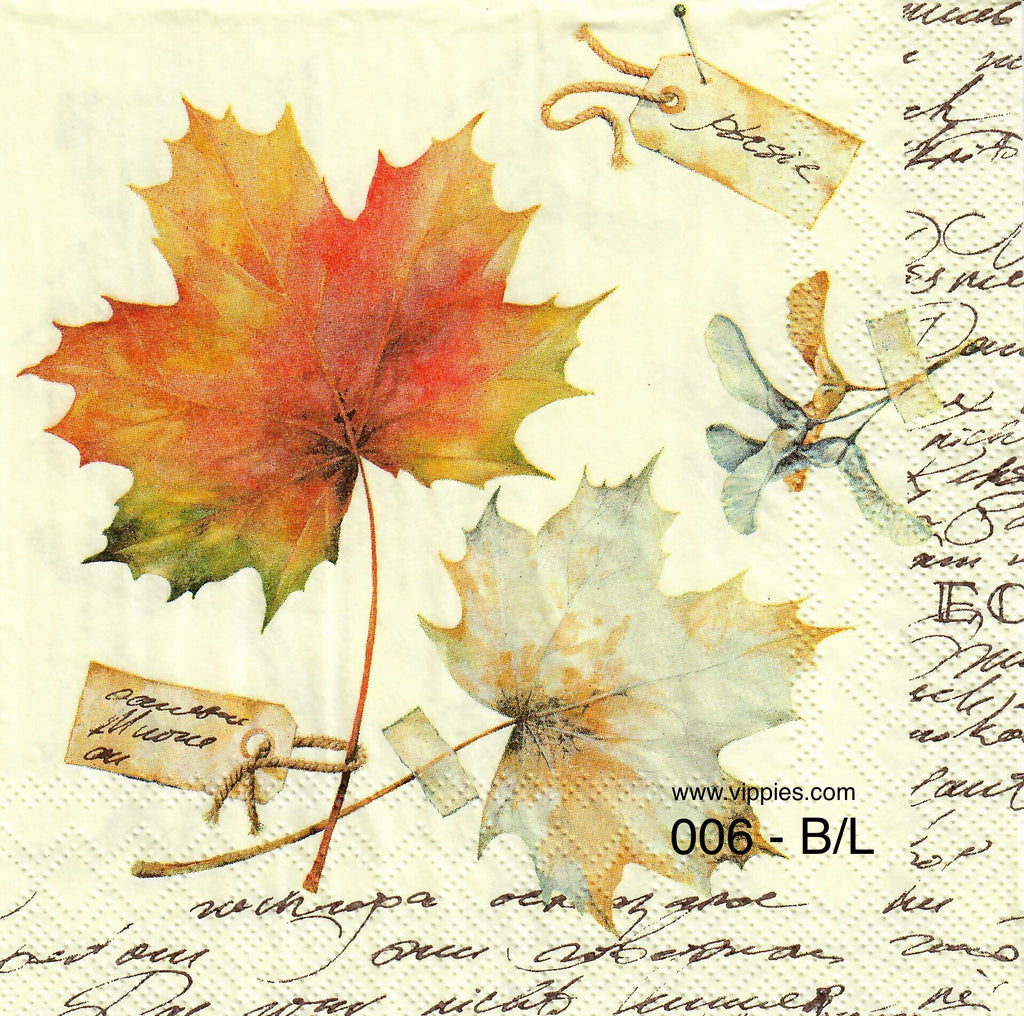 AT-006 Allover Ivory Leaves Napkin for Decoupage