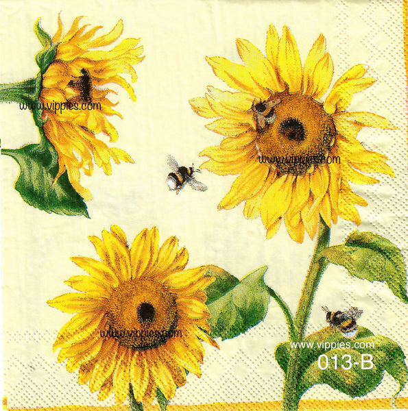 AT-013 Sunflower Bees Napkin for Decoupage