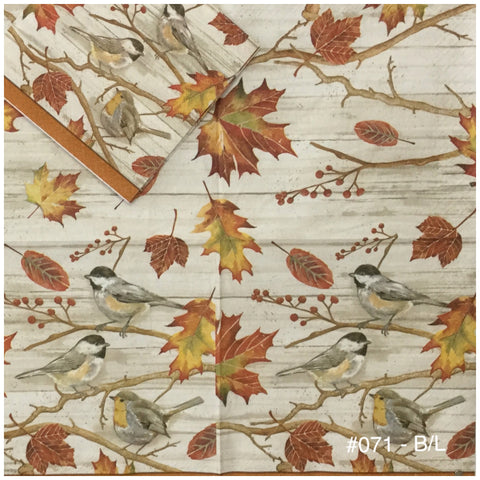 AT-071 Autumn Birds on Branch Napkin for Decoupage