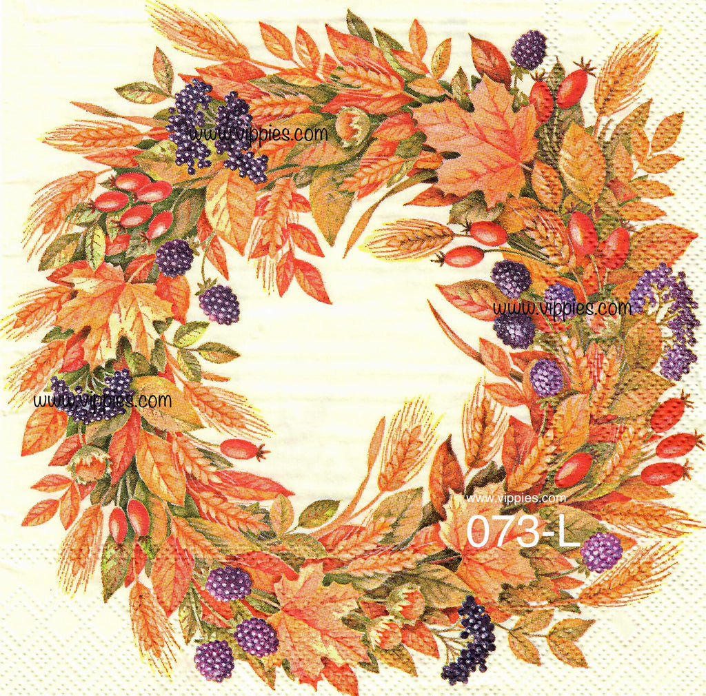 AT-073 Leaf Berries Wreath Napkin for Decoupage