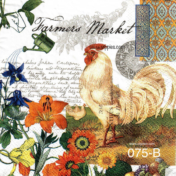 AT-075 Farmers Market Rooster Napkin for Decoupage