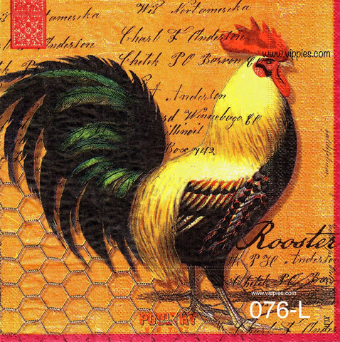 AT-076 Large Rooster Napkin for Decoupage