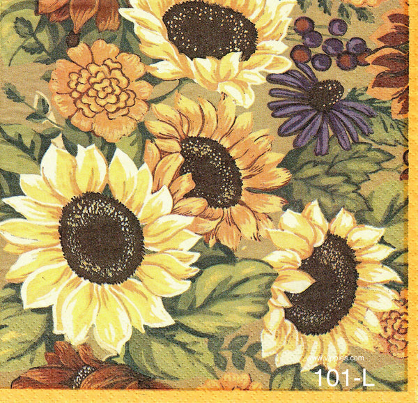 AT-101 Sunflowers Multi Napkin for Decoupage