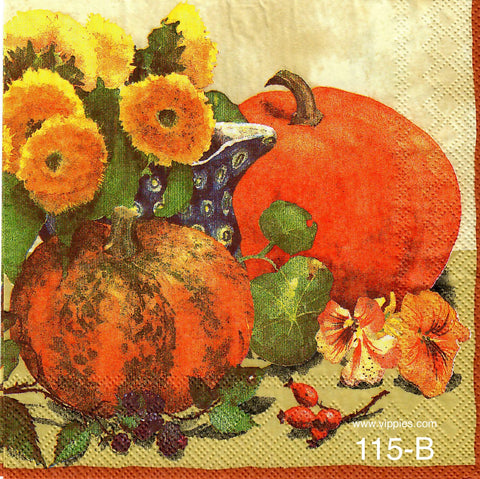 AT-115 Pumpkins Flowers 2 Napkin for Decoupage