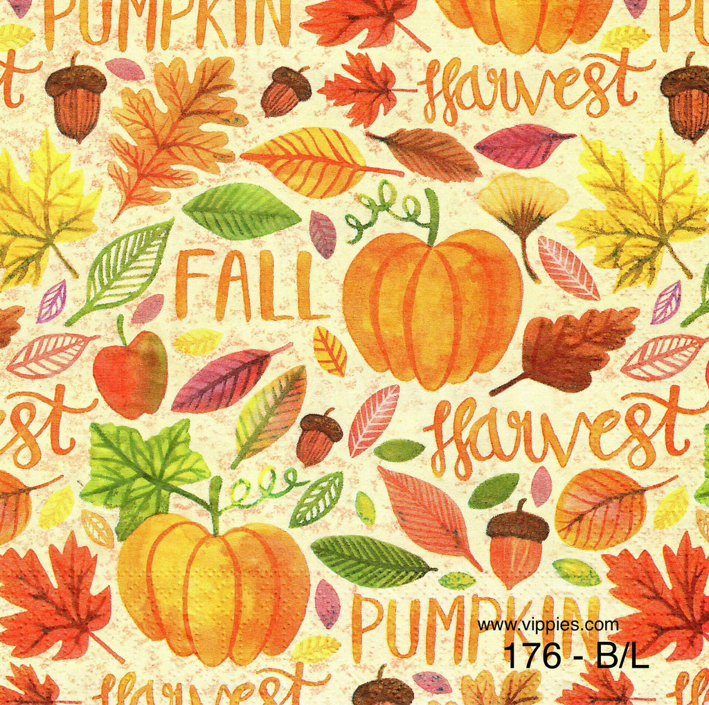 AT-176 Fall Harvest Words Napkin for Decoupage