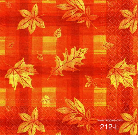AT-212 Leaves Plaid Napkin for Decoupage