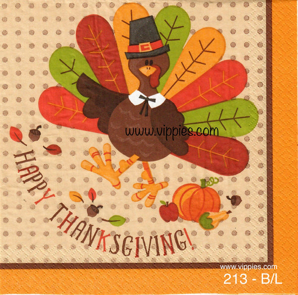 AT-213 Happy Thanksgiving Cartoon Turkey Napkin for Decoupage