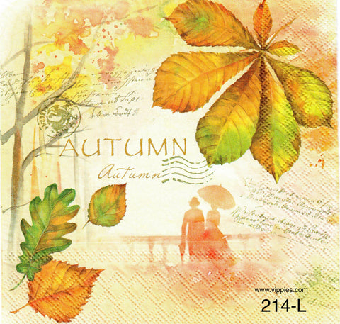 AT-214 Autumn Leaf Collage Napkin for Decoupage