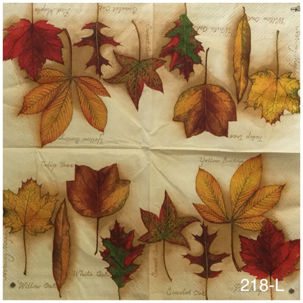 AT-218 Pale Yellow with Leaves Napkin for Decoupage