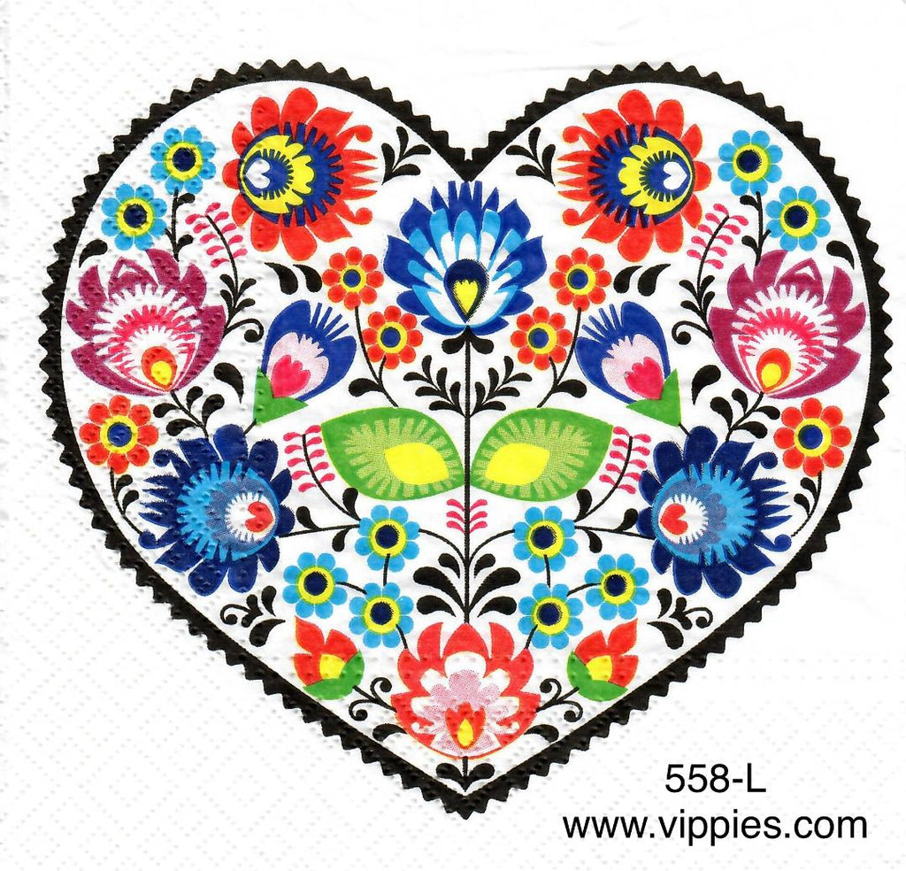 AT-558 Heart Flowers Napkin for Decoupage