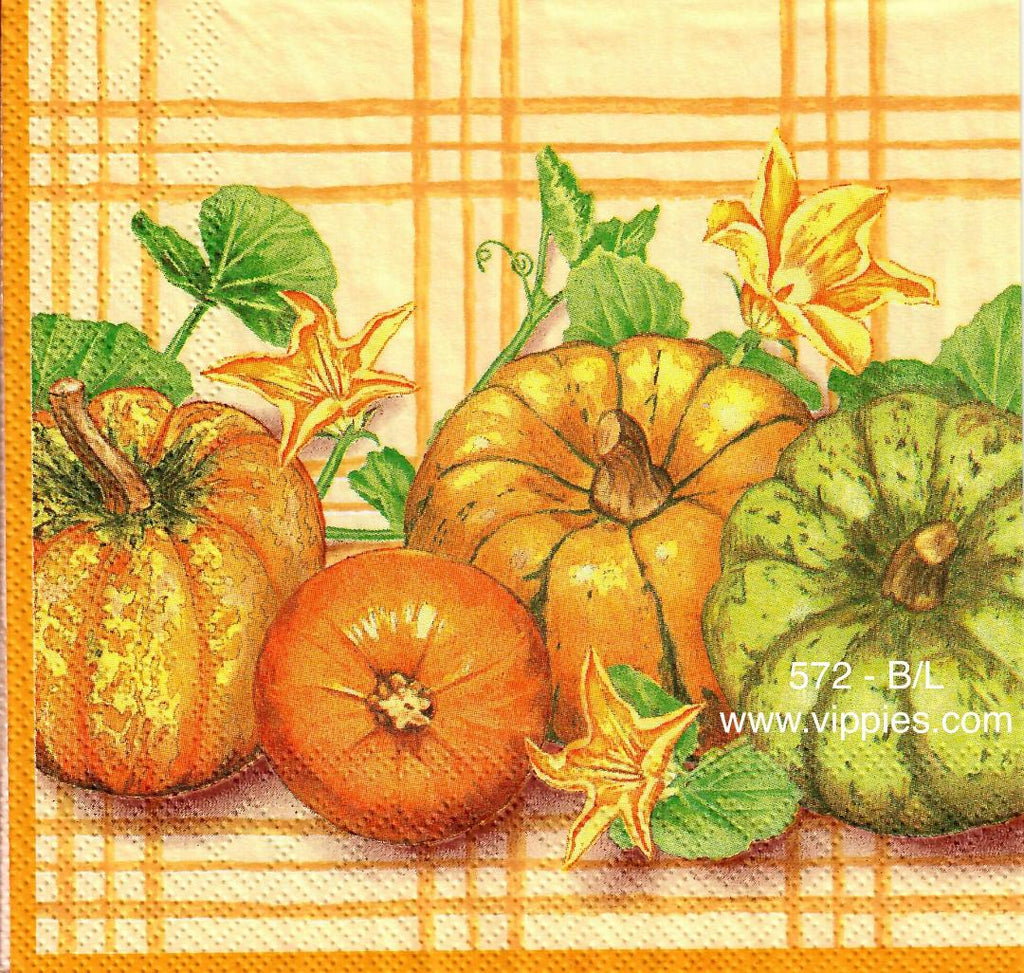 AT-572 Pumpkin Plaid Napkin for Decoupage