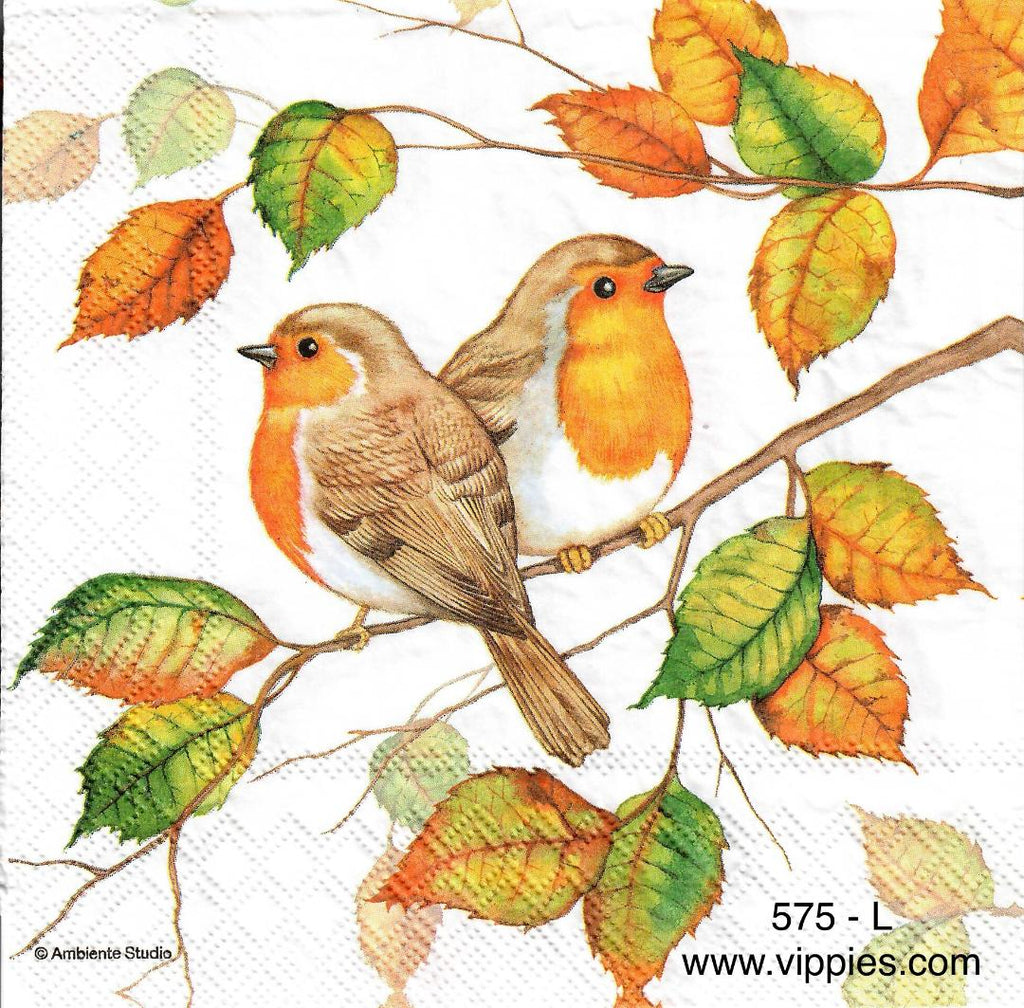 AT-575 Fall Robins Napkin for Decoupage