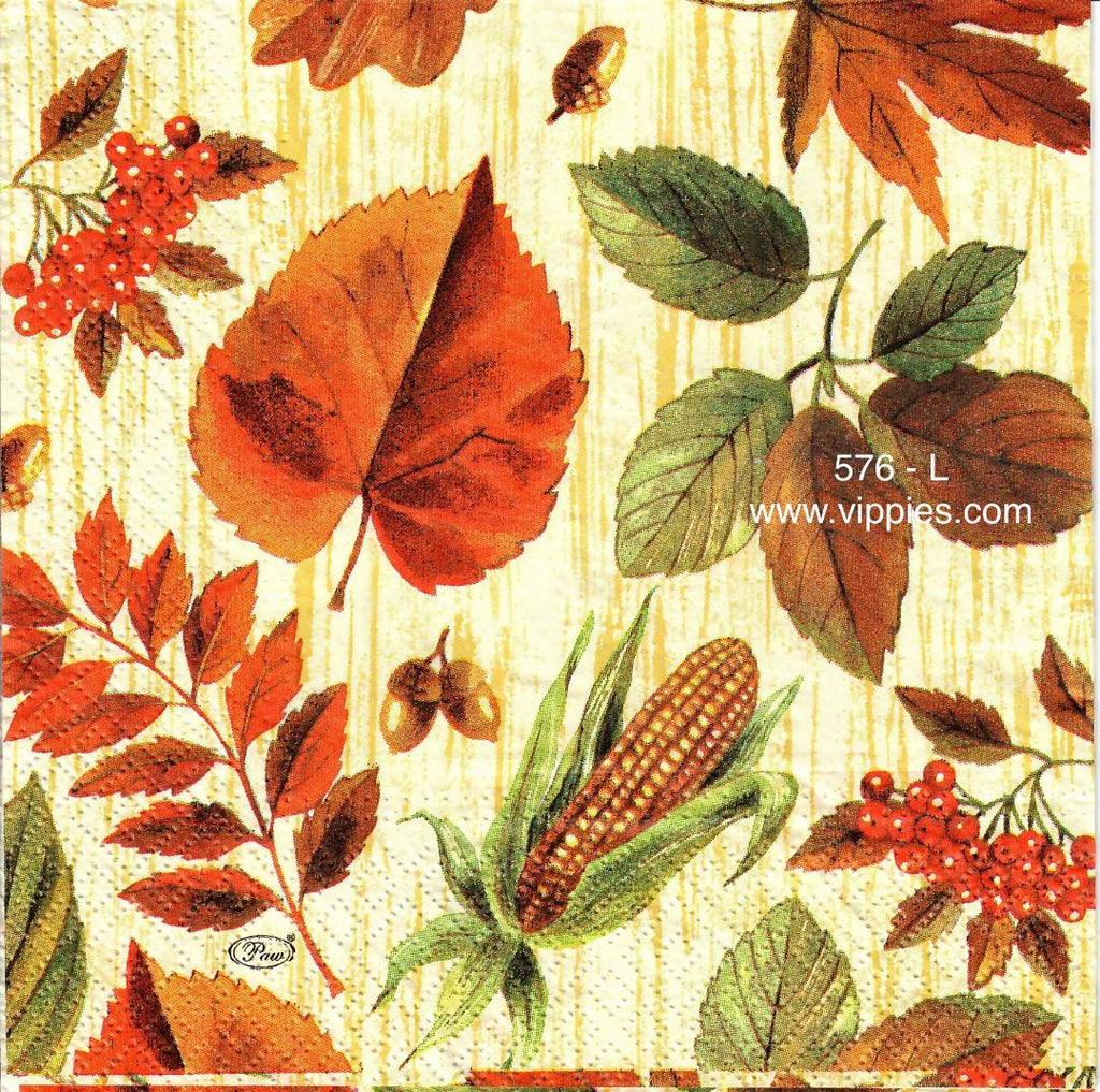 AT-576 Fall Leaves/Corn Napkin for Decoupage
