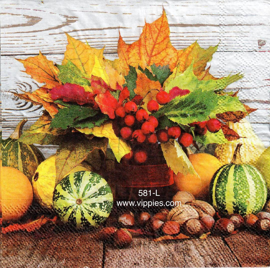 AT-581 Pumpkin/Leaf Scene Napkin for Decoupage