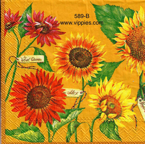 AT-589 Bright Multi Sunflower Napkin for Decoupage