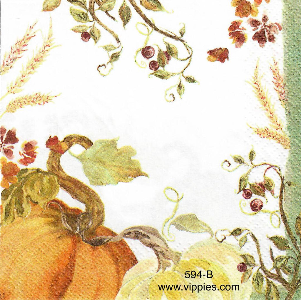 AT-594 Pumpkin Corner Napkin for Decoupage