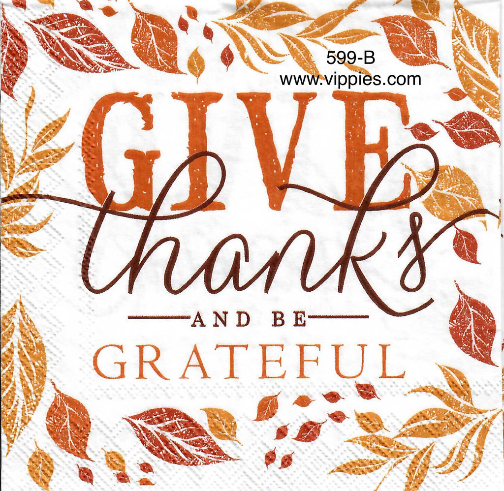 AT-599 Give Thanks Be Grateful Napkin for Decoupage
