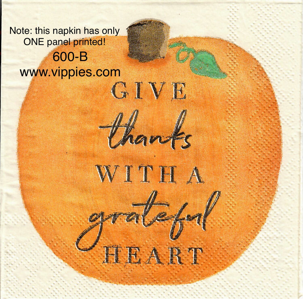 AT-600 Thanks With Grateful Heart Napkin for Decoupage