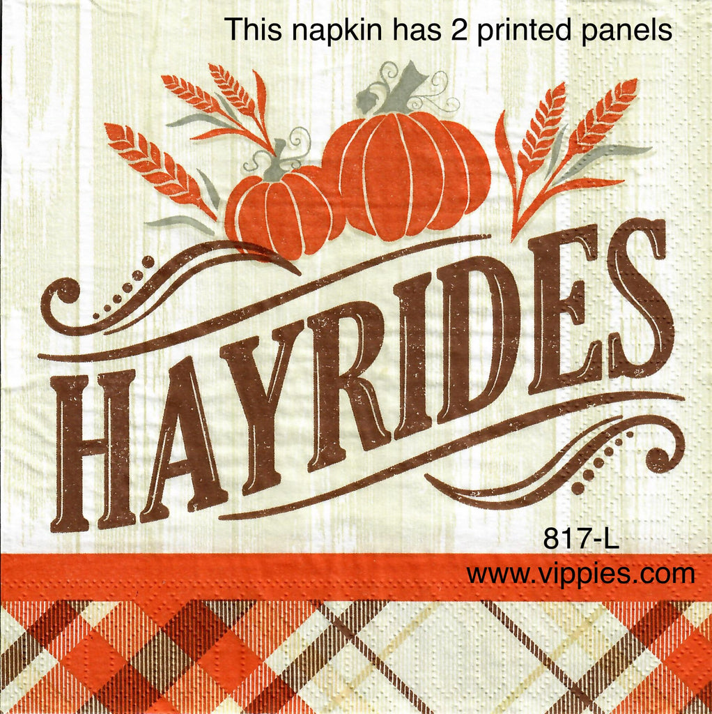 AT-817 Hayrides Napkin for Decoupage