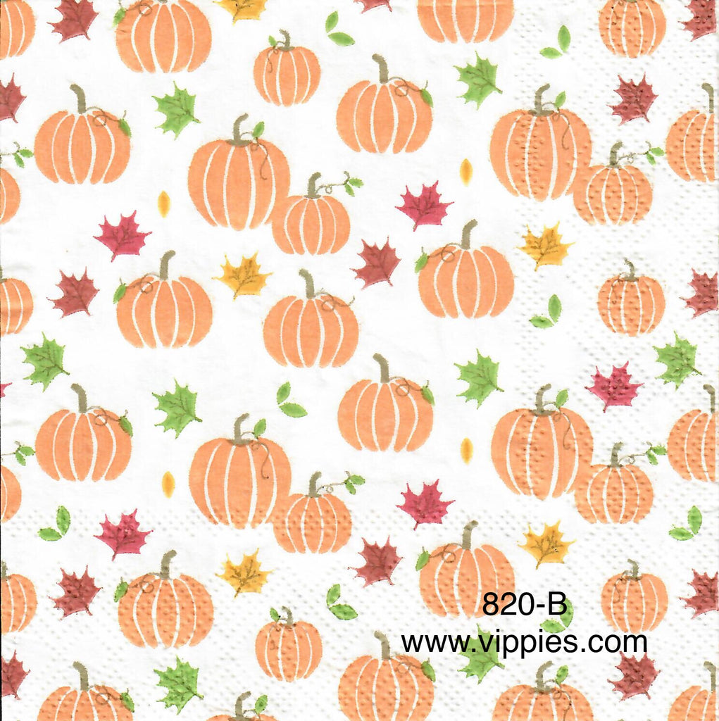 AT-820 Little Pumpkins Leaves Background Napkin for Decoupage