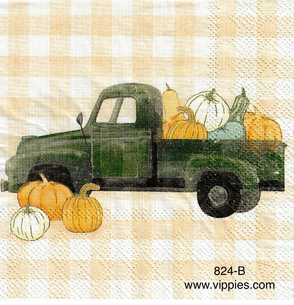 AT-824 Green Pickup Checks Napkin for Decoupage
