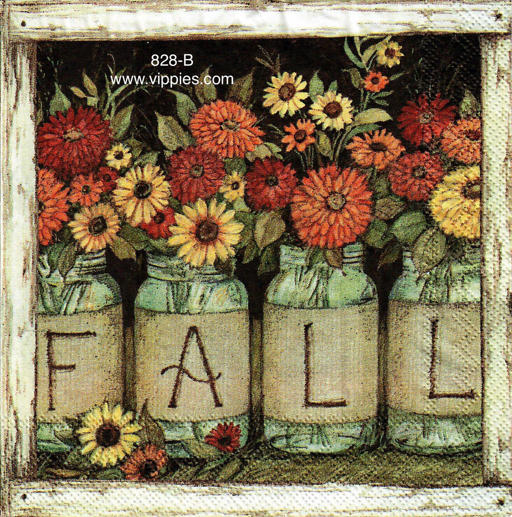 AT-828 Fall Mason Jars Napkin for Decoupage