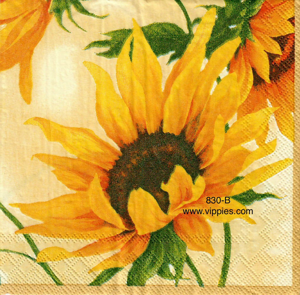 AT-830 Large Yellow Sunflowers Napkin for Decoupage