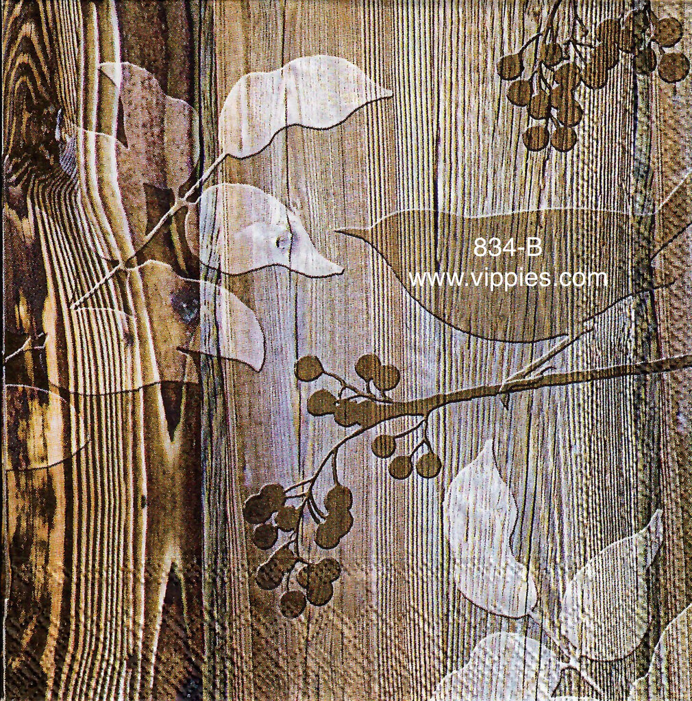 AT-834 Woodgrain Bird Napkin for Decoupage