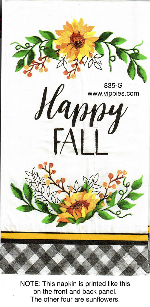 AT-835 Buffalo Check Happy Fall Guest Napkin for Decoupage