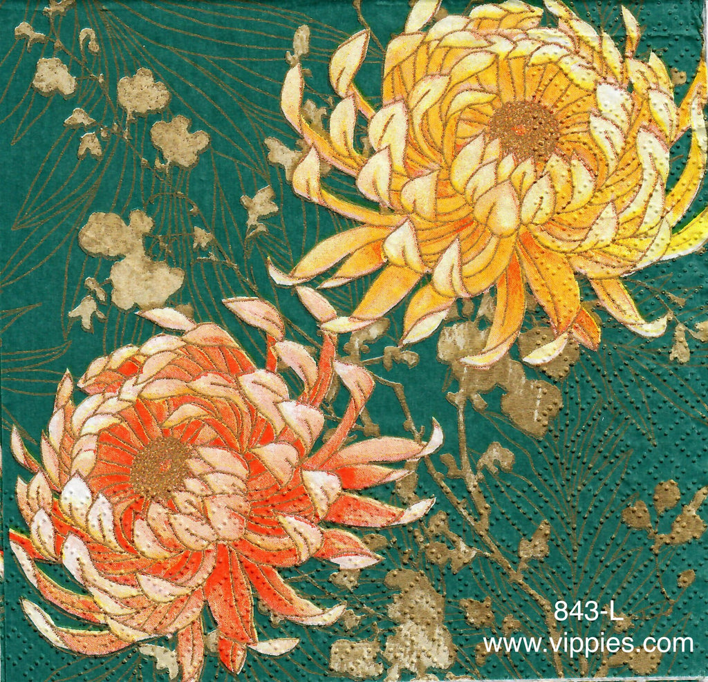 AT-843 Turquoise Mums Napkin for Decoupage