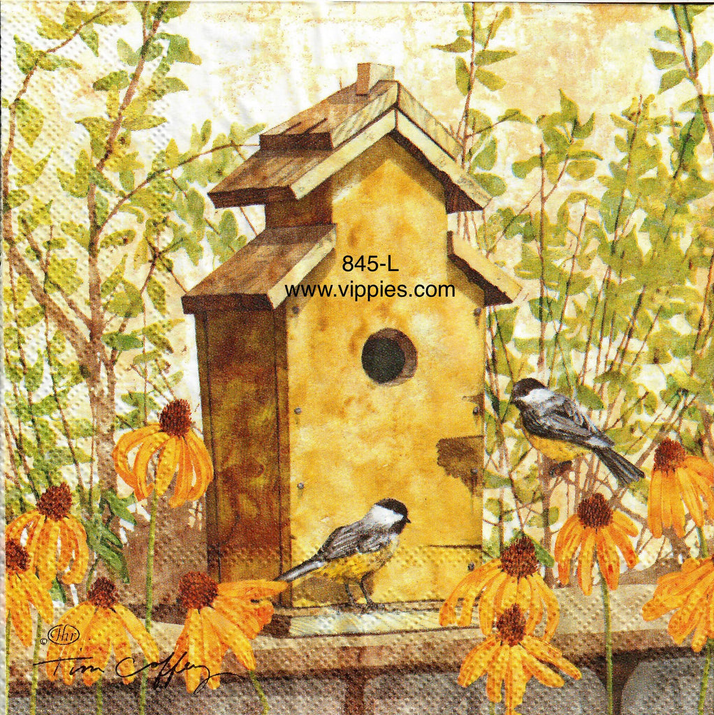 AT-845 Birdhouse in Fall Napkin for Decoupage