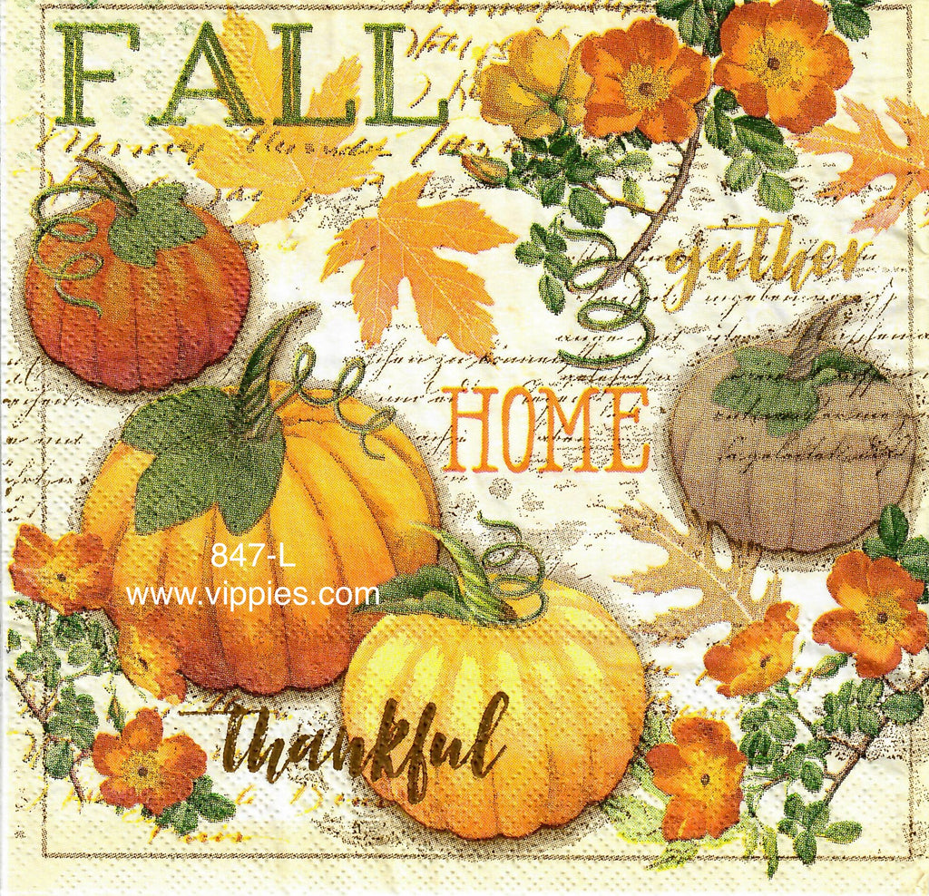 AT-847 Home Thankful Pumpkins Napkin for Decoupage