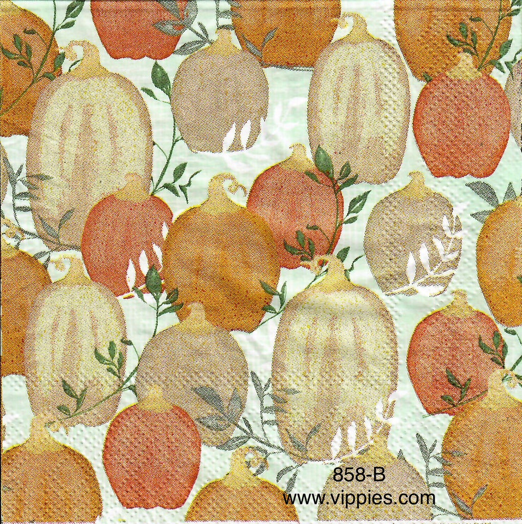 AT-858 Light Orange Pumpkins Napkin for Decoupage