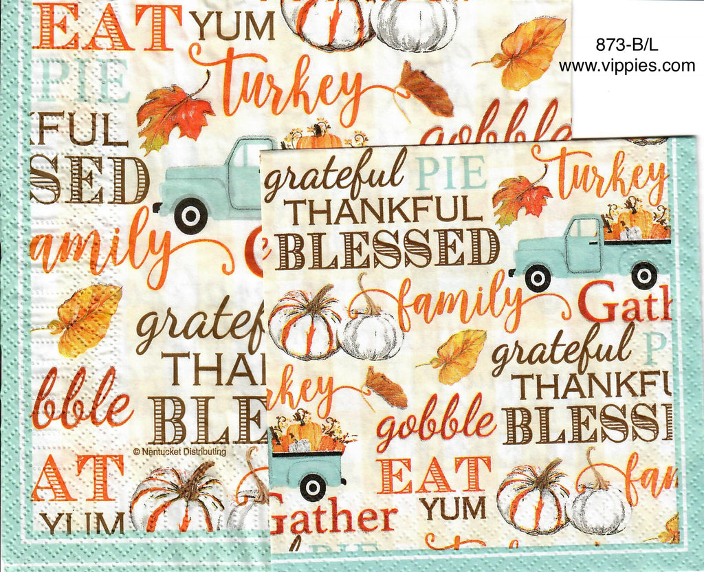 AT-873 Thankful Blue Truck Napkin for Decoupage