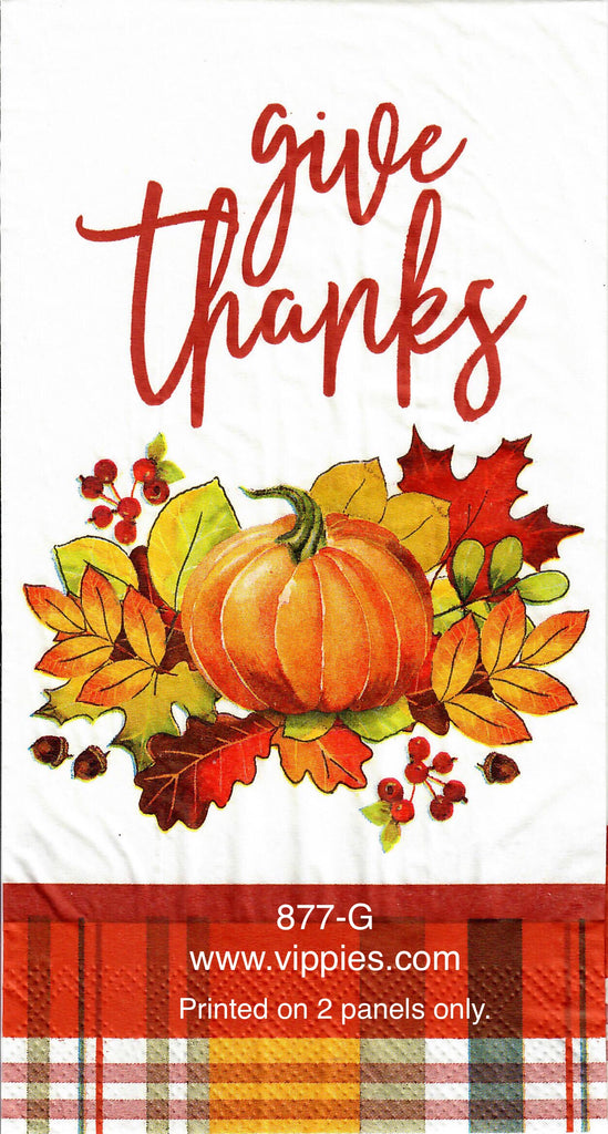 AT-877 Give Thanks Plaid Guest Napkin for Decoupage
