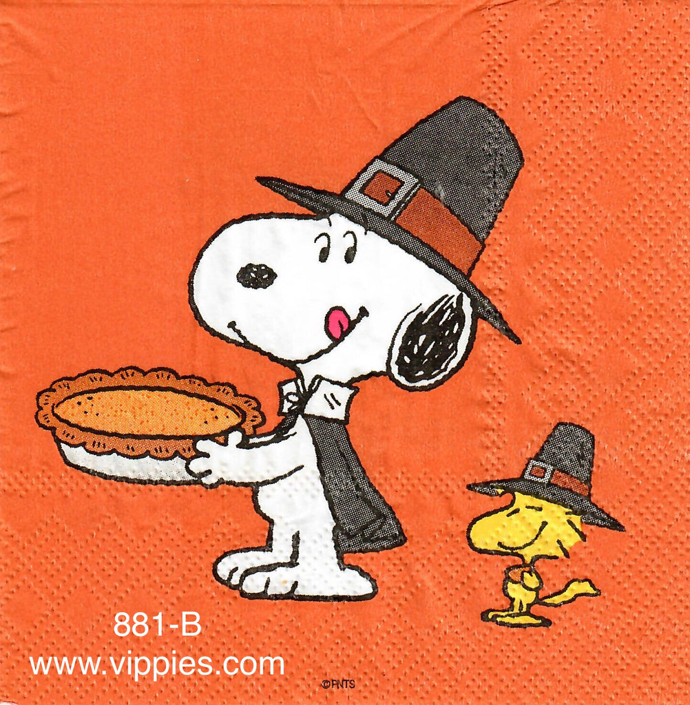 AT-881 Snoopy Pumpkin Pie Napkin for Decoupage