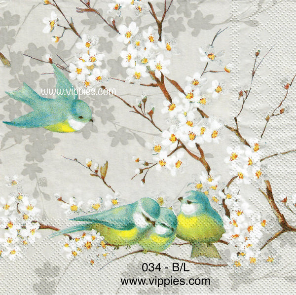 BB-034 Bluebirds Yellow Chest Napkin for Decoupage