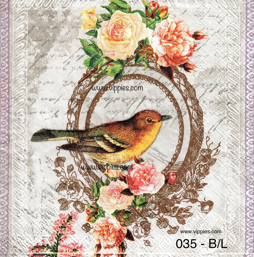 BB-035 Golden Bird Napkin for Decoupage