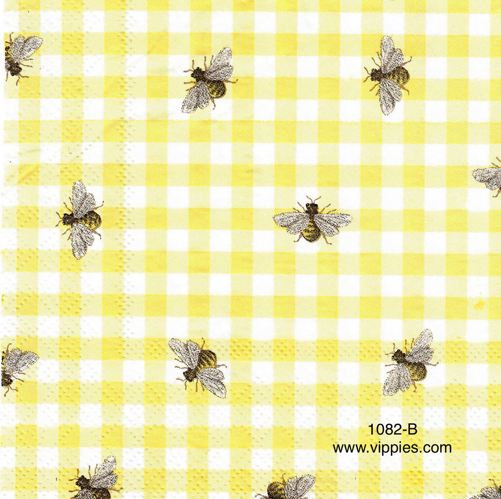 BB-1082 Bee Yellow Checks Napkin for Decoupage