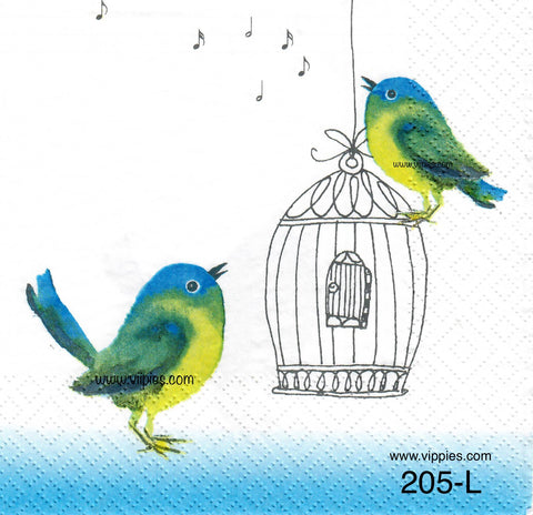 BB-205 Songbirds and Birdcage Napkin for Decoupage