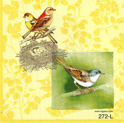 BB-272 Yellow Bird Nest and Branch Napkin for Decoupage