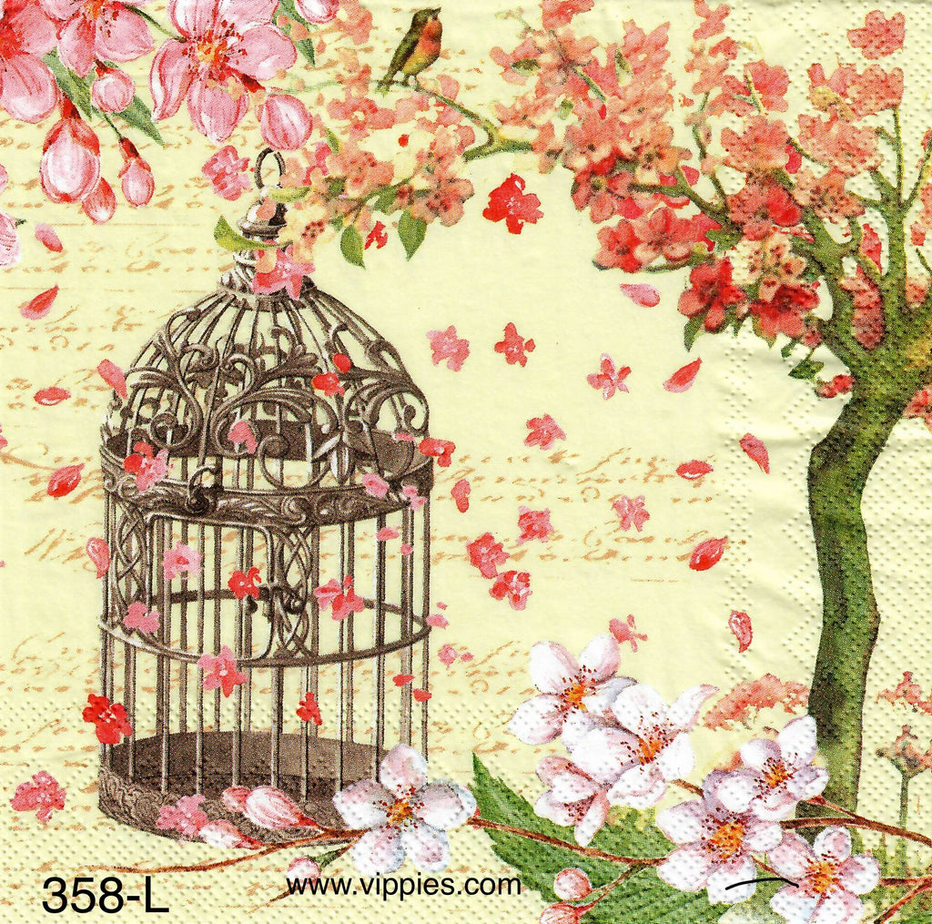 BB-358 Birdcage Dogwood Napkin for Decoupage
