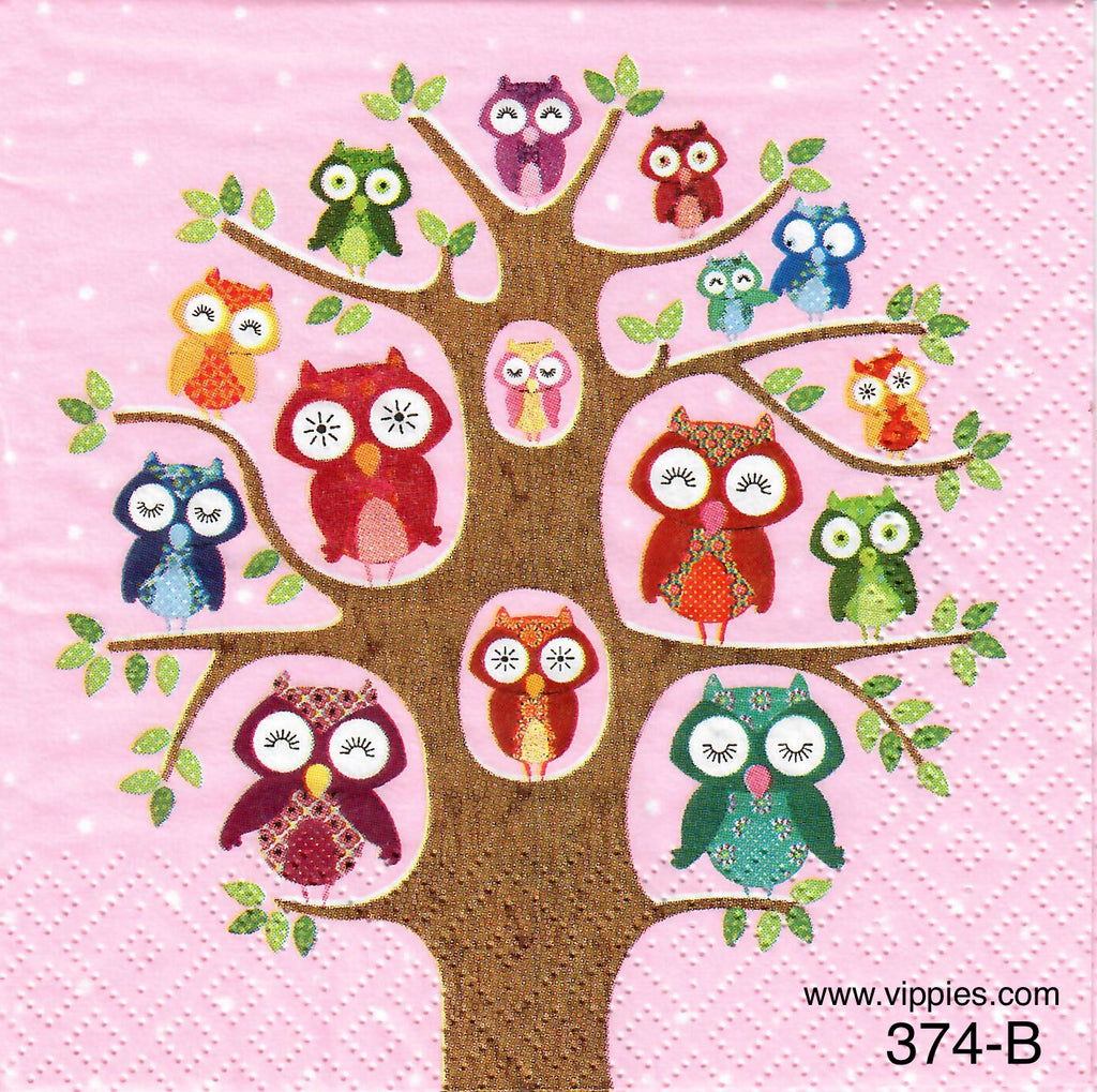 BB-374 Pink Owl Tree Napkin for Decoupage