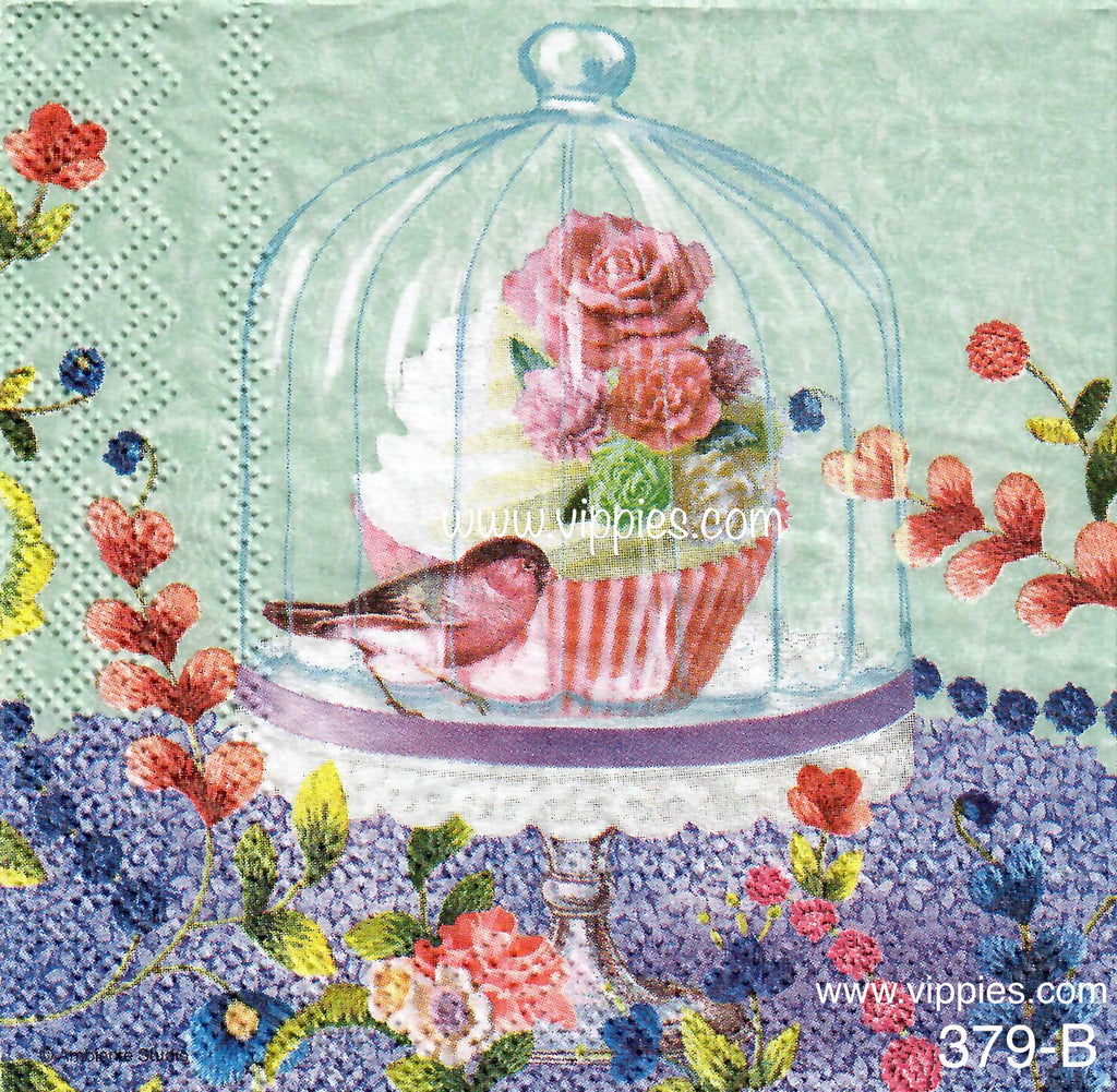 BB-379 Cupcake/Bird/Bell Napkin for Decoupage